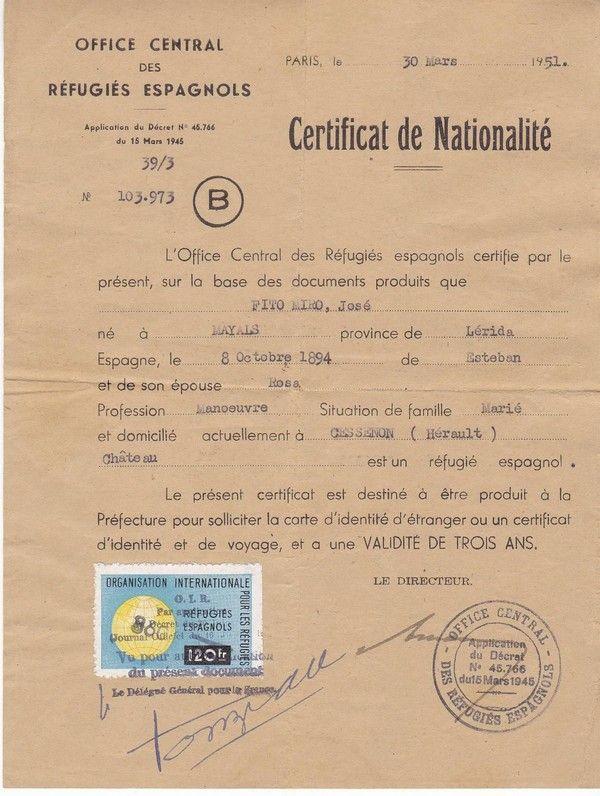autour d un certificat de nationalit dat de 1951. Black Bedroom Furniture Sets. Home Design Ideas