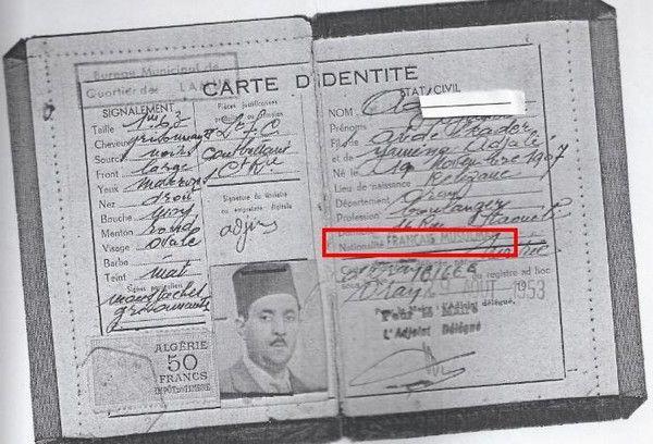 Carte Identite Algerie.Francais Musulman